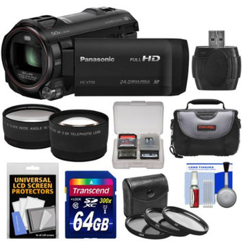 Panasonic HC-V750K HD Wi-Fi Video Camera Camcorder with 64GB Card + Case + 3 Filters + Tele/Wide Lens Kit