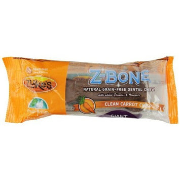 Zuke's Z-Bones Edible Grain-Free Dental Chews, Clean Carrot Crisp, Giant 3.88-Ounce, Individually Wrapped Bone