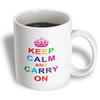 Recaro North 3dRose - EvaDane - Funny Quotes - Keep calm and carry on. Rainbow. - 11 oz mug
