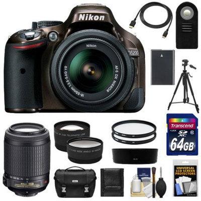 Nikon D5200 Digital SLR Camera & 18-55mm G VR DX AF-S Zoom Lens (Bronze) with 55-200mm VR Lens + 64GB Card + Battery + Case + Tripod + Tele/Wide Lenses + Remote + Accessory Kit