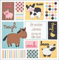 Dimensions Baby Hugs Barn Babies Birth Record Counted Cross Stitch Kit