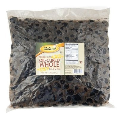 Roland Oil-Cured Whole Black Olives, 5-Pounds Bag