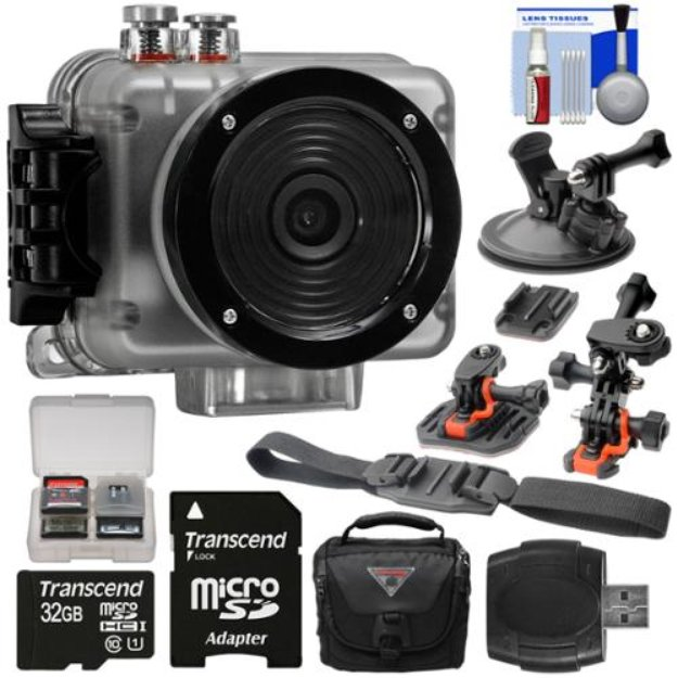 Intova Nova HD Waterproof Sports Video Camera Camcorder with 32GB Card + 2 Helmet, Flat Surface & Suction Cup Mounts + Case + Kit