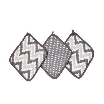 Bacati - MixNMatch Grey Zigzag 3 pc Wash Cloths
