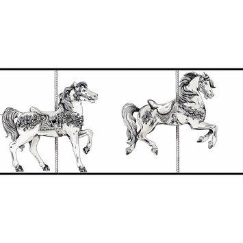 York Wallcoverings Peek-a-Boo Toile Carousel Horse Border