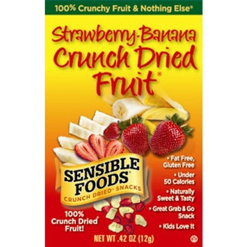 Sensible Foods Strawberry-Banana Crunch Dried Fruit Snacks, Lunch box size, 0.42-Ounce (Pack of 16)