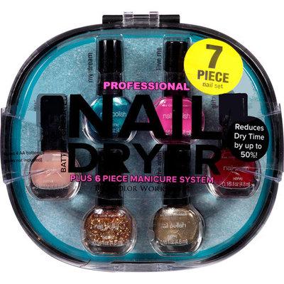 The Color Workshop Professional Nail Dryer Plus Manicure System, Black, 7 pc