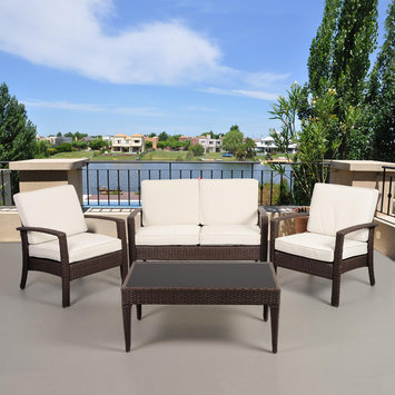 Atantic Atlantic Santorini Deluxe 4 Piece Brown Synthetic Wicker Patio Seating Set With Off-White Cushions