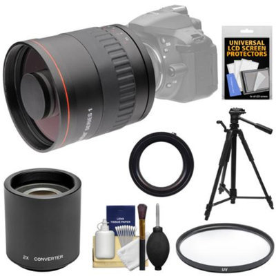 Vivitar 800mm f/8 Mirror Lens with 2x Teleconverter (=1600mm) + Tripod + Filter Kit for Nikon D3200, D3300, D5200, D5300, D7000, D7100, D610, D750, D800, D810 Camera
