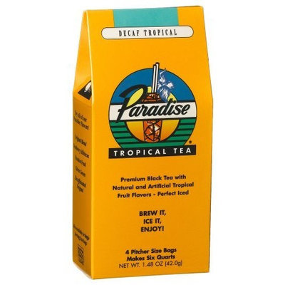 Paradise Tropical Tea, Decaf, 4 Pitcher Size Bags, 1.48-Ounce Packages (Pack of 6)