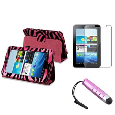 Insten INSTEN Pink Zebra Slim Leather Case Cover+Protector/Stylus Pen For Samsung Galaxy Tab 2 7.0 P3100 7 inch
