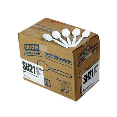 Dixie SH217 Plastic Tableware, Heavyweight Soup Spoons, 1000/Carton, White