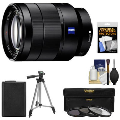 Sony Alpha E-Mount Vario-Tessar T* FE 24-70mm f/4.0 ZA OSS Zoom Lens with NP-FW50 Battery + 3 UV/CPL/ND8 Filters + Tripod Kit for Alpha A7 & A7R Cameras