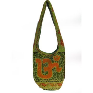 True Indian Embroidered Boho Sling Green Om Cross Body Messenger Bag