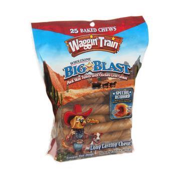 Waggin' Train Big Blast Pork Skin Twists with Chicken Liver Center Treat for Dogs - 25 CT
