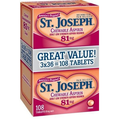 St. Joseph Adult Low Strength Aspirin Regimen Chewable Tablets, 81 mg, Orange Flavored, 108-Count Bottles (Pack of 4)