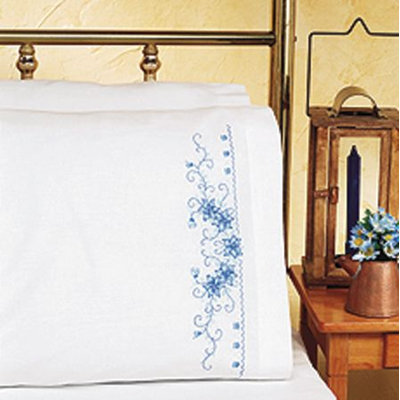 Janlynn 265788 Blue Floral Pillowcase Pair Stamped Cross Stitch20 in. x 30 in.