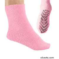 Silvert's Silverts 191410801 Hospital Large Grip - Non Skid Slipper Socks for Mens & Womens Baby Pink - Extra Large