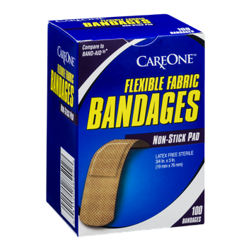 CareOne Flexible Fabric Bandages with Non-Stick Pad - 100 CT