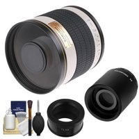 Samyang 500mm f/6.3 Mirror Lens (White) (T Mount) with 2x Teleconverter (=1000mm) + Cleaning Kit for Samsung NX20, NX200, NX210 & NX1000 Digital Cameras