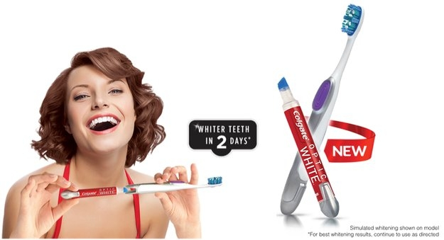 Colgate® Optic White™ Toothbrush + Built-In Whitening Pen