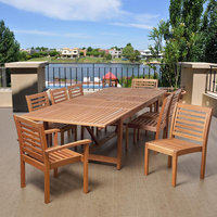 Edmonds 9 Piece Eucalyptus Extendable Rectangular Patio Dining Set