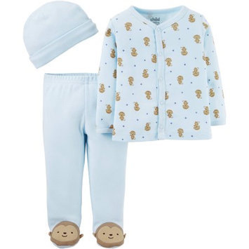 Child Of Mine by Carter's Newborn Baby Boy Footed Pants, Cardigans, and Cap 3-Piece Outfit Set