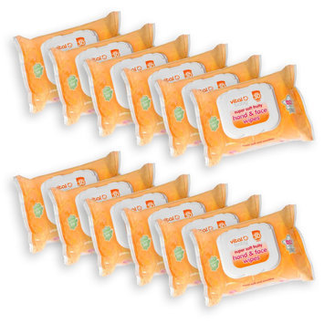 Vital Baby Hand & Face Wipes Bundle, Fruity Scent