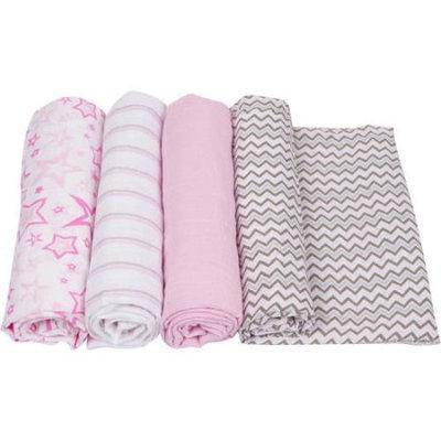 MiracleWare 2540 Pink Muslin Swaddle, 4 Pack