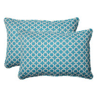 Pillow Perfect Outdoor 2-Piece Rectangular Toss Pillow Set - Teal/White Geometric