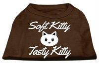 Ahi Softy Kitty Tasty Kitty Screen Print Dog Shirt Brown Med (12)
