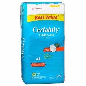 Walgreens Certainty Unisex Large Underwear Moderate Absorbency