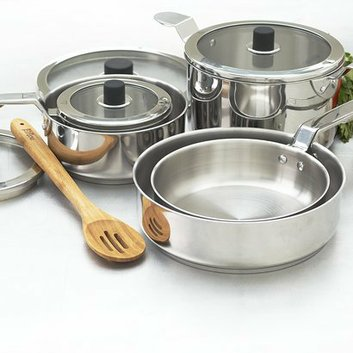Eazistore Ezistore Stackable 10pc Stainless Steel Cookset