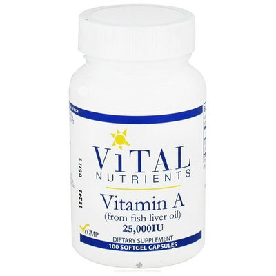 Vital Nutrients, Vitamin A (from fish liver oil) 25,000 IU 100 capsules