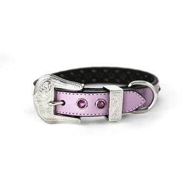 Zuri Collection 092145348840 Purple Leather Collar, Dark Purple Swarovski Crysta