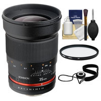 Rokinon 35mm f/1.4 Aspherical Wide Angle Lens with Filter Kit for Sony Alpha SLT-A37, A57, A58, A65, A77 II, A99 DSLR Cameras