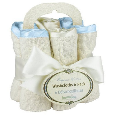 Bumkins Organic Washcloth 6- Pack, Blue