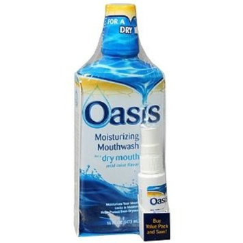 Oasis Moisturizing Mouthwash for Dry Mouth Plus Dry Mouth Spray, Value Pack - 16 Oz, 1 Oz