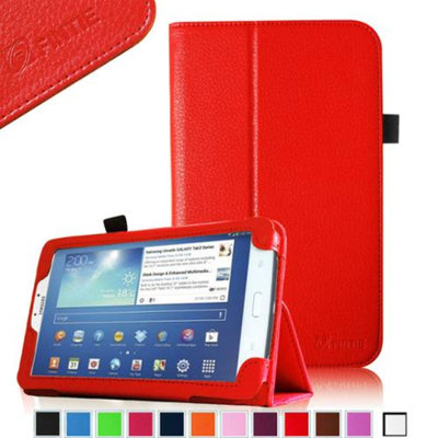 Fintie Folio Classic Leather Case for Samsung Galaxy Tab 3 7.0 inch Tablet, Red