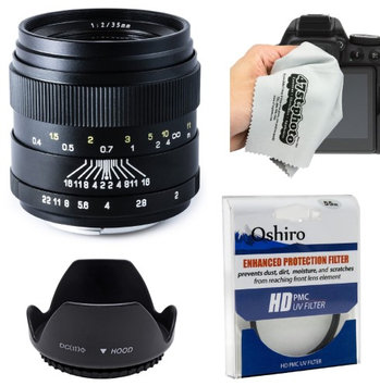 Oshiro 35mm f/2 LD UNC AL Wide Angle Full Frame Prime Lens with Hood, UV Filter, Microfiber Cloth for Canon EOS 70D, 60D, 50D, 7D, 6D, 5D, T6i, T6s, T5i, T5, T4i, T3i, T3 and T2i Digital SLR Cameras