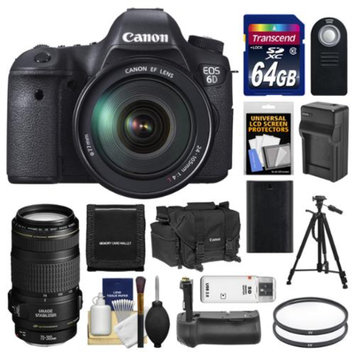 Canon EOS 6D Digital SLR Camera Body with EF 24-105mm L IS USM & 70-300mm IS Lens + 64GB Card + Case + Grip + Battery & Charger + Tripod + Kit