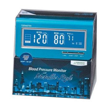 Veridian Healthcare Metallic Style Arm Blood Pressure Monitor, Blue, 1 ea