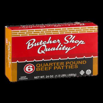 Butcher Shop Quality Quarter Pound Beef Patties - 6 CT