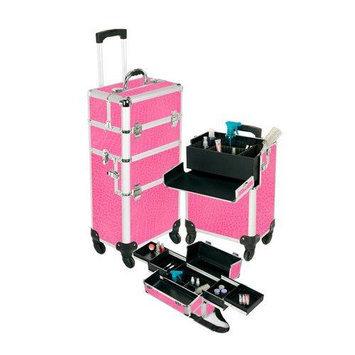 Seya Pro Aluminum Makeup Case Pink 4 Wheeled Spinner