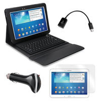 Bluetooth Keyboard Folio with Screen Protector, OTG Cable, and Car Charger for Samsung Galaxy Tab 3 10.1
