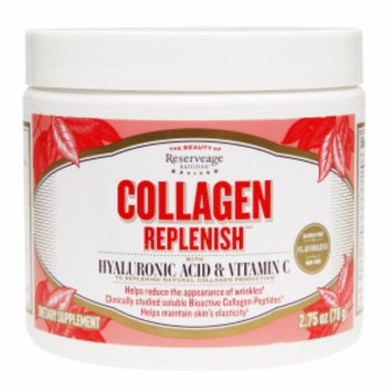 ReserveAge Organics Collagen Replenish with Hyaluronic Acid & Vitamin C, Unflavored, 2.75 oz