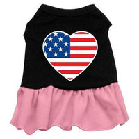 Ahi American Flag Heart Screen Print Dress Black with Pink Med (12)