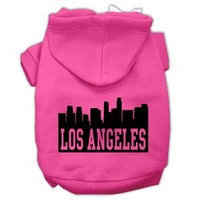 Mirage Pet Products Los Angeles Skyline Screen Print Pet Hoodies Bright Pink Size Sm (10)