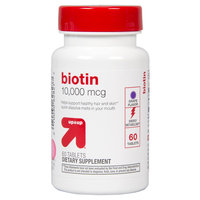 up & up Biotin Grape 10,000 mcg Tablets For Energy Metabolism - 60 Count