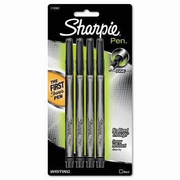 Sharpie 1742661 Plastic Point Stick Permanent Water Resistanat Pen, Black Ink, Fine, 4 per Pack